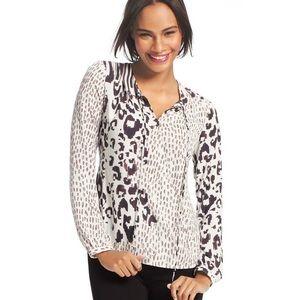 CAbi #590 skin print wrap blouse